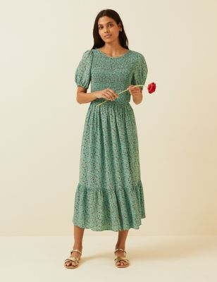 Floral Puff Sleeve Shirred Midi Dress