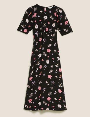 Floral Puff Sleeve Midi Tea Dress