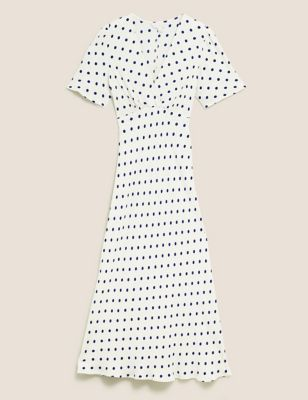 Polka Dot V-Neck Angel Sleeve Midi Dress
