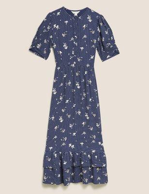 Floral Ruffle Hem Midi Tea Dress