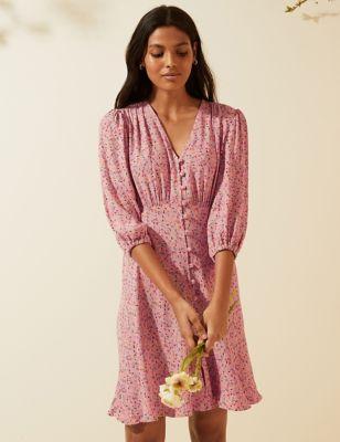 Floral V-Neck Button Through Mini Tea Dress