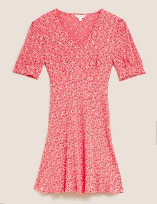 Floral V-Neck Puff Sleeve Mini Tea Dress