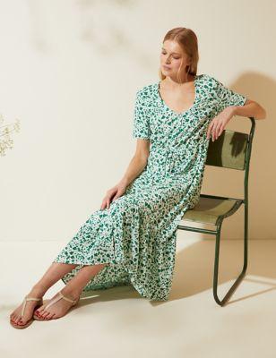 Ditsy Floral V-Neck Tie Waist Midi Dress
