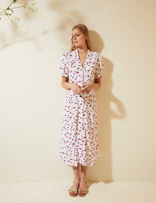 Strawberry Print Puff Sleeve Midi Tea Dress