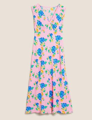 Floral V-Neck Sleeveless Midi Slip Dress