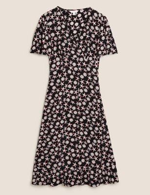 Printed V-Neck Angel Sleeve Midi Tea Dress