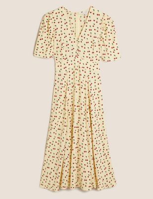 Cherry Print Button Detail Midi Tea Dress