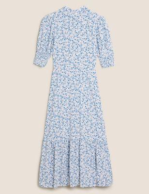 Ditsy Floral Puff Sleeve Midi Tea Dress