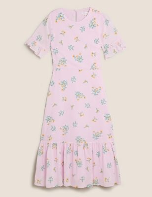 Pure Cotton Floral Frill Sleeve Midi Dress