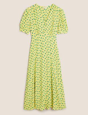 Printed V-Neck Puff Sleeve Midi Tea Dress