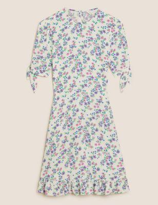 Floral Tie Sleeve Mini Tea Dress