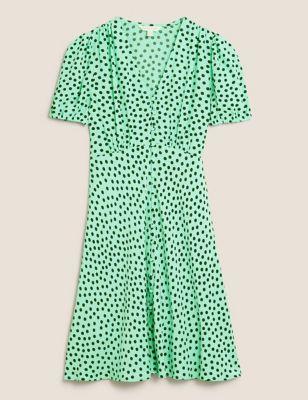 Polka Dot V-Neck Puff Sleeve Tea Dress