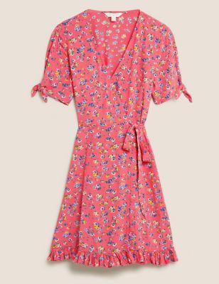 Ditsy Floral Tie Sleeve Mini Wrap Dress