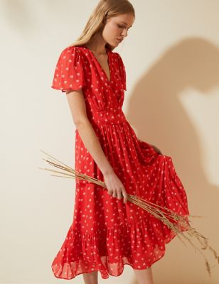 Heart Print V-Neck Midi Tea Dress