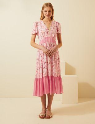 Floral V-Neck Angel Sleeve Midi Tea Dress