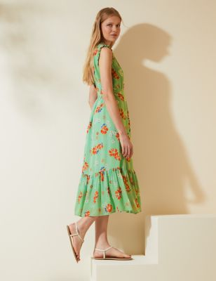 Floral Tie Waist Midi Dress