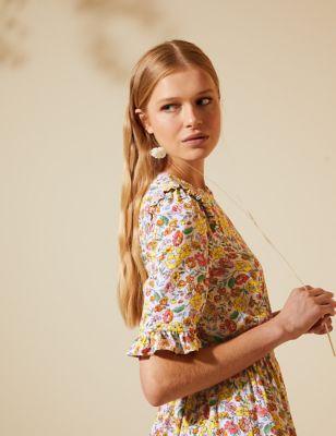 Floral Frill Detail Shirred Midi Tea Dress