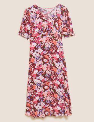 Floral V-Neck Empire Line Midi Tea Dress