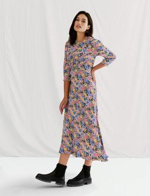 Floral Empire Line Midi Tea Dress