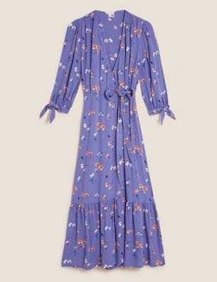 Floral Tie Sleeve Midi Wrap Dress