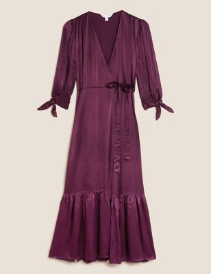 Satin V-Neck Tie Sleeve Midi Wrap Dress