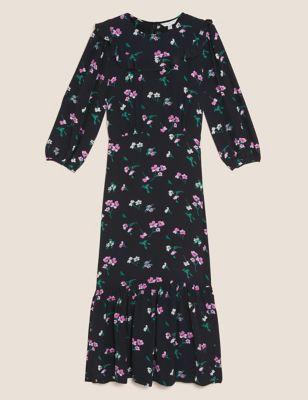 Floral Frill Detail Midi Tea Dress