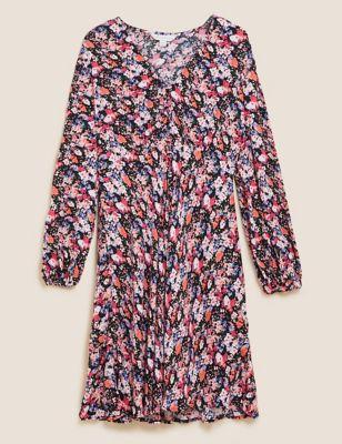 Floral V-Neck Empire Line Tea Dress