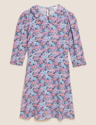 Floral Frill Collar Knee Length Tea Dress