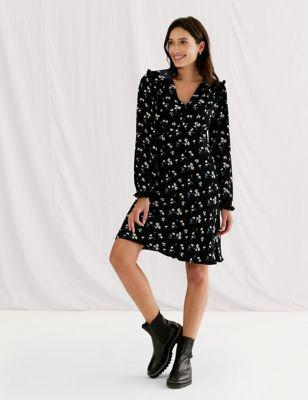 Floral Frill Detail Knee Length Tea Dress