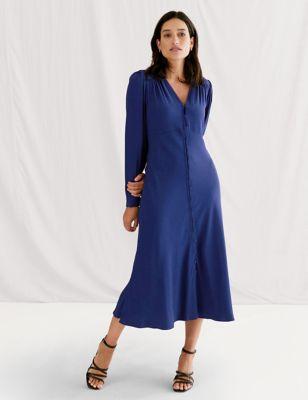 V-Neck Button Through Midi Dress