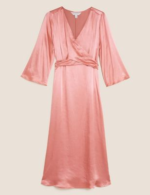 Satin V-Neck Midi Wrap Dress