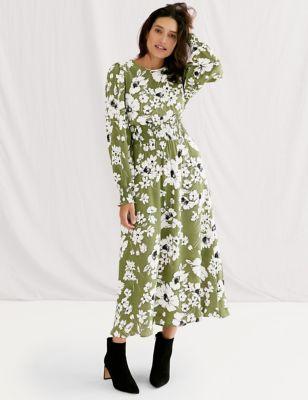 Floral Shirred Midi Waisted Dress