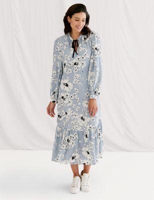 Floral Tie Neck Midi Tea Dress