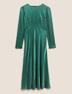 Satin Puff Sleeve Empire Line Midi Dress