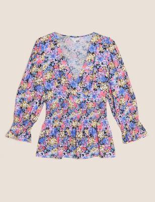 Floral V-Neck Shirred Puff Sleeve Blouse