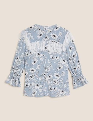 Sheer Floral Lace Detail 3/4 Sleeve Blouse