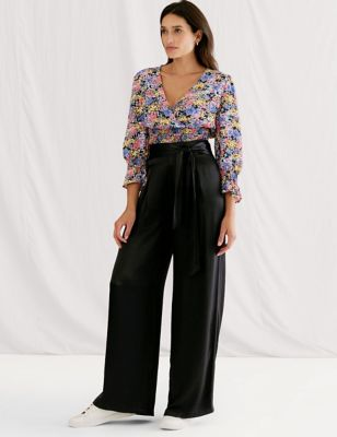 Satin Tie Front Wide Leg Trousers