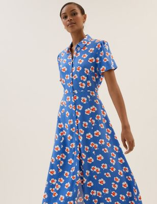 Floral Short Sleeve Midi Shirt Dress