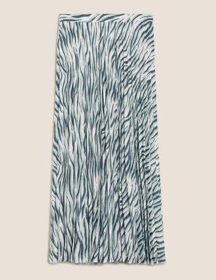 Animal Print Pleated Midi A-Line Skirt