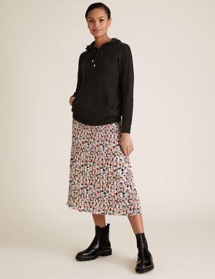 Floral Plisse Midi Straight Skirt