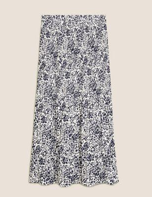 Printed Plisse Midi Straight Skirt