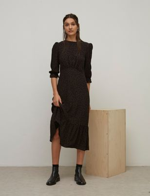 Polka Dot Round Neck Midaxi Waisted Dress