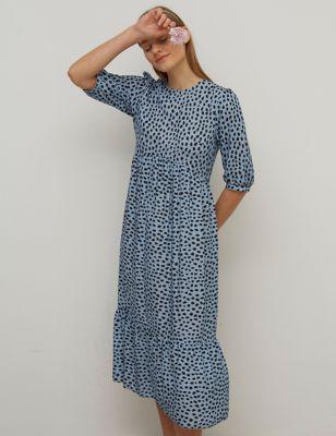 Printed Round Neck Midaxi Smock Dress