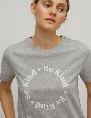 Pure Cotton Be Kind Slogan T-shirt
