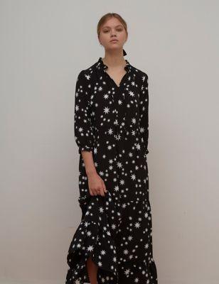Star Print V-Neck Maxi Smock Dress