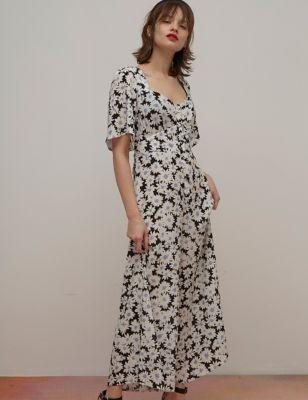 Floral Short Sleeve Jumpsuit