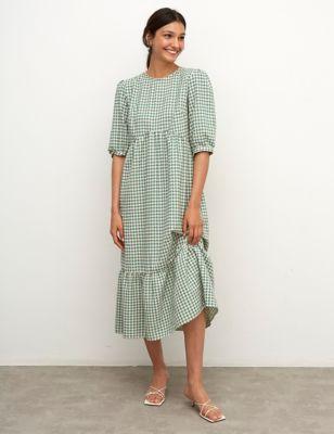 Cotton Gingham Midaxi Smock Dress