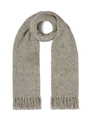 Wool Ribbed Fringed Scarf