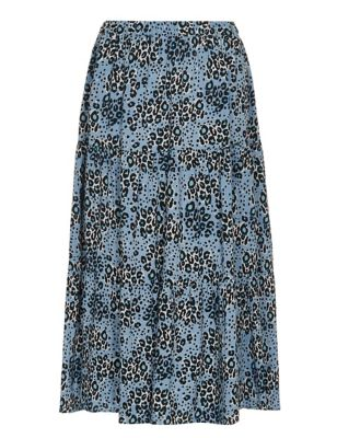 Animal Print Midi Tiered Skirt
