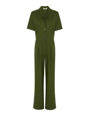 Linen Button Front Short Sleeve Jumpsuit